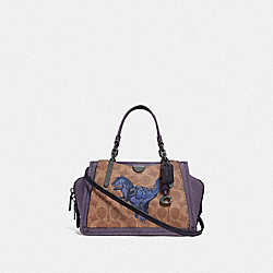 DREAMER 21 IN SIGNATURE CANVAS WITH REXY BY ZHU JINGYI - V5/TAN DUSTY LAVENDER - COACH F73945