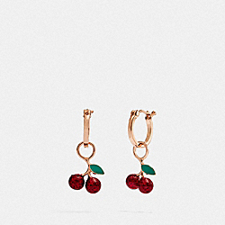 CHERRY HUGGIE EARRINGS - ROSEGOLD/MULTI - COACH F73977