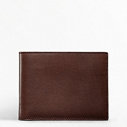 COACH WATER BUFFALO DOUBLE BILLFOLD PASSCASE ID WALLET - ONE COLOR - F74009