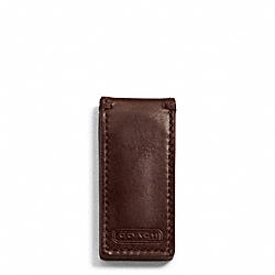 COACH WATER BUFFALO NEW MONEY CLIP - MAHOGANY - F74016