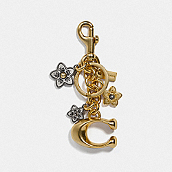 SIGNATURE AND DAISY BAG CHARM - GD/GOLD - COACH F74068