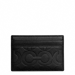 OP ART EMBOSSED LEATHER SLIM CARD CASE COACH F74177