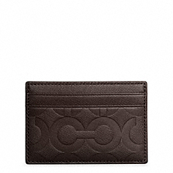 OP ART EMBOSSED LEATHER SLIM CARD CASE - MAHOGANY - COACH F74177