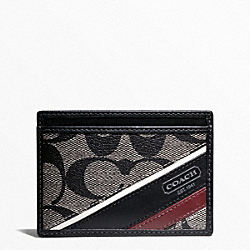 COACH HERITAGE STRIPE SLIM CARD CASE - ONE COLOR - F74223