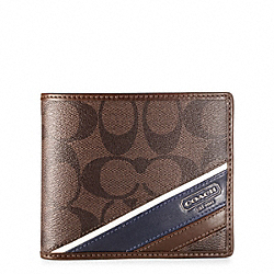 COACH HERITAGE STRIPE COMPACT ID WALLET - MAHOGANY/BROWN - F74225