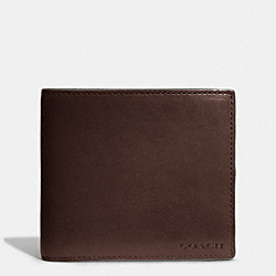 COACH BLEECKER LEATHER COIN WALLET - MAHOGANY - F74314