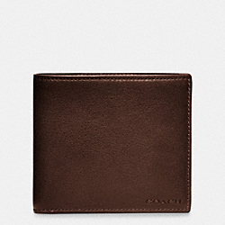 COACH BLEECKER LEATHER DOUBLE BILLFOLD WALLET - MAHOGANY - F74316