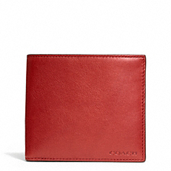 COACH BLEECKER LEGACY LEATHER DOUBLE BILL WALLET - TOMATO - F74316