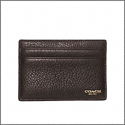 COACH CROSBY TEXTURED LEATHER SLIM CARD CASE - DARK BROWN - F74322