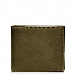 COACH BLEECKER LEATHER COMPACT ID WALLET - DARK OLIVE - F74345