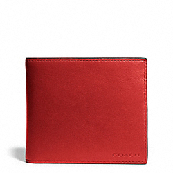 COACH BLEECKER LEATHER COMPACT ID WALLET - TOMATO - F74345