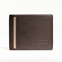 COACH HERITAGE WEB LEATHER SLIM BILLFOLD WALLET - SILVER/BROWN - F74373