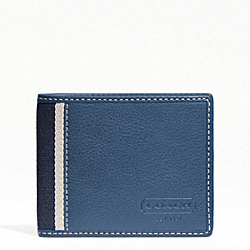 COACH HERITAGE WEB LEATHER SLIM BILLFOLD WALLET - SILVER/MARINE - F74373