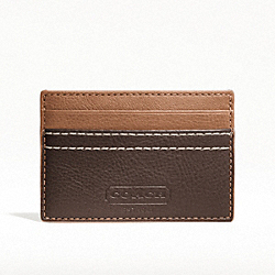 COACH HERITAGE WEB LEATHER SLIM CARD CASE - SILVER/BROWN - F74375