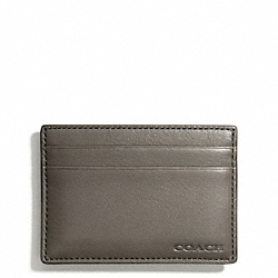 COACH BLEECKER LEGACY MONEY CLIP CARD CASE IN LEATHER - SHARKSKIN - F74381