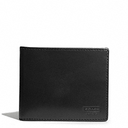 COACH WATER BUFFALO SLIM BILLFOLD WALLET - BLACK - F74383