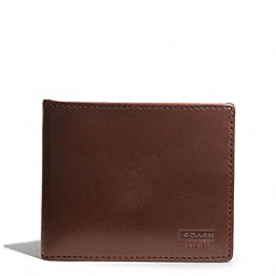 COACH WATER BUFFALO SLIM BILLFOLD WALLET - MAHOGANY - F74383