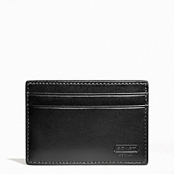 COACH WATER BUFFALO MONEY CLIP CARD CASE - BLACK - F74393