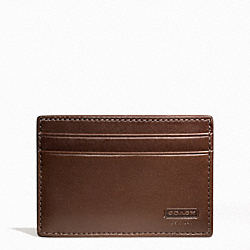 COACH WATER BUFFALO MONEY CLIP CARD CASE - MAHOGANY - F74393