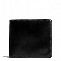 COACH WATER BUFFALO DOUBLE BILLFOLD ID WALLET - BLACK - F74395
