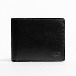 COACH WATER BUFFALO DOUBLE BILLFOLD WALLET - BLACK - F74396
