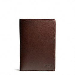 COACH WATER BUFFALO PASSPORT HOLDER - MAHOGANY - F74398
