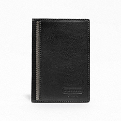 COACH HERITAGE WEB LEATHER PASSPORT CASE - SILVER/BLACK - F74417