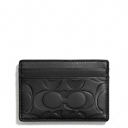 COACH SIGNATURE EMBOSSED MONEY CLIP CARD CASE - BLACK - F74418