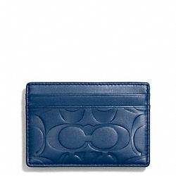 COACH SIGNATURE EMBOSSED MONEY CLIP CARD CASE - MARINE, MARINA - F74418