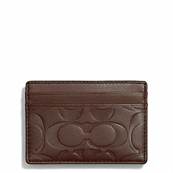 COACH SIGNATURE EMBOSSED MONEY CLIP CARD CASE - TOBACCO - F74418