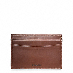 COACH CROSBY PIECED LEATHER CARD CASE - BROWN/NAVY - F74422