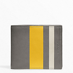 COACH BLEECKER DEBOSSED PAINTED STRIPE COMPACT ID - PEWTER/SQUASH - F74493