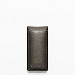 COACH BLEECKER LEGACY LEATHER MONEY CLIP - DARK GREY/FAWN - F74498