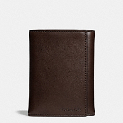 BLEECKER TRIFOLD WALLET IN LEATHER - MAHOGANY - COACH F74499