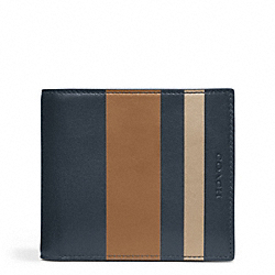 COACH BLEECKER DEBOSSED STRIPE LEATHER COIN WALLET - ONE COLOR - F74508