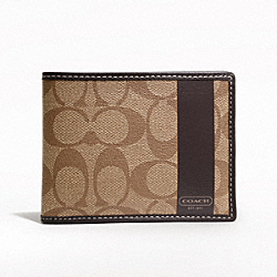 COACH HERITAGE STRIPE PASSCASE ID WALLET