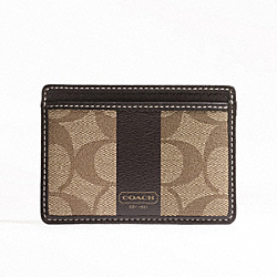 COACH COACH HERITAGE STRIPE SLIM CARD CASE - SILVER/KHAKI/BROWN - F74515