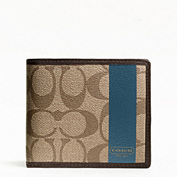 COACH COACH HERITAGE STRIPE COIN WALLET - SILVER/KHAKI/STORM BLUE - F74516