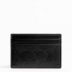 COACH SIGNATURE EMBOSSED SLIM CARD CASE - BLACK - F74530