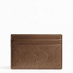 COACH SIGNATURE EMBOSSED SLIM CARD CASE - TOBACCO - F74530
