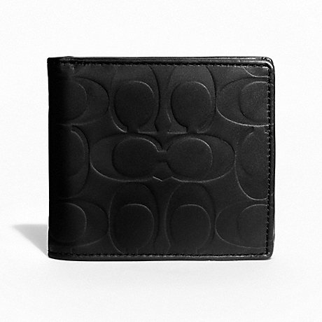 COACH SIGNATURE EMBOSSED COIN WALLET - BLACK - f74531