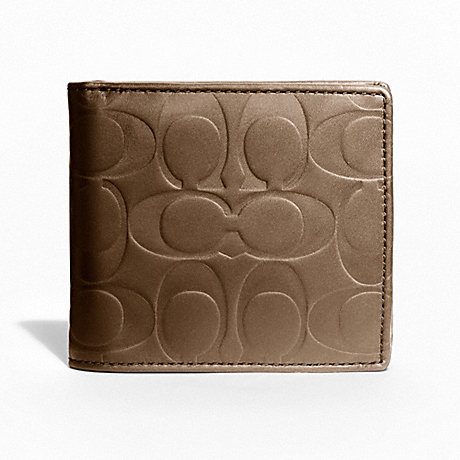 COACH SIGNATURE EMBOSSED COIN WALLET - TOBACCO - f74531