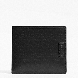 COACH HERITAGE SIGNATURE EMBOSSED PVC DOUBLE BILLFOLD - BLACK - F74549