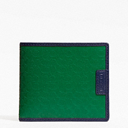 COACH HERITAGE SIGNATURE EMBOSSED PVC DOUBLE BILLFOLD - GREEN - F74549