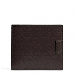 COACH HERITAGE SIGNATURE DOUBLE BILLFOLD WALLET - MAHOGANY - F74549