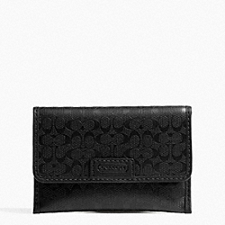HERITAGE SIGNATURE EMBOSSED PVC BUSINESS CARD CASE COACH F74551