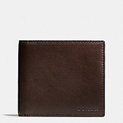 COACH BLEECKER LEATHER MONEY CLIP SINGLE BILLFOLD WALLET - MAHOGANY - F74561