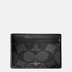 COACH BLEECKER ID CARD CASE IN SIGNATURE COATED CANVAS - BLACK/CHARCOAL - F74585