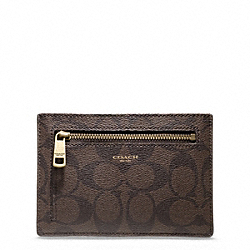 COACH BLEECKER SIGNATURE ZIP CARD CASE - ONE COLOR - F74587