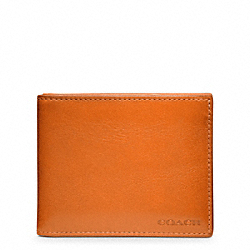 COACH BLEECKER LEATHER SLIM BILLFOLD ID WALLET - BONFIRE - F74590
